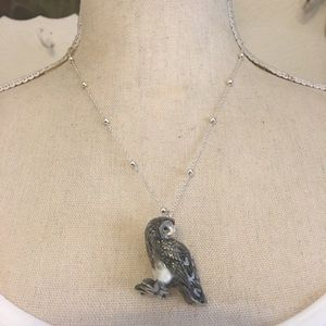 Ceramic owl pendant silver plated chain necklace